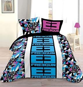 housse de couette 220x240 cm 2 to 63x63 cm freegun 2. Black Bedroom Furniture Sets. Home Design Ideas