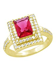 Yellow Gold Plated Pure 925 Sterling Silver Simulated Diamonds And Bar Shaped Ruby Halo Ring