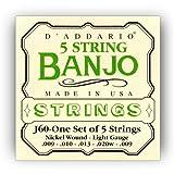 D\'Addario Cordes pour banjo 5 cordes D\'Addario J60, nickel, Light, 9-20