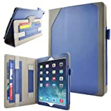 Caseen Apple iPad Air Genuine Leather Case (Blue/Grey) w/ Smart Cover Auto Sleep / Wake, Card Holders, Hand Strap, Stylus Holder (100% Real Authentic Leather Slim Folio) - DESIGNO Series