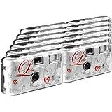TopShot - Fotocamera usa e getta per nozze, 27 scatti, flash, confezione da 12, colore: Bianco