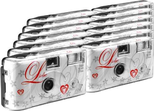 TopShot Love weiss Einwegkamera / Hochzeitskamera (27 Fotos, Blitz, 12-er Pack)