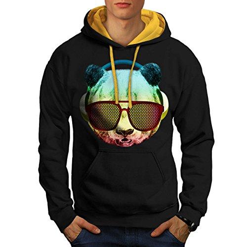 Music Fan Panda Bear Funky Cool Men NEW Black (Gold Hood) S Contrast Hoodie | Wellcoda (Fan Pull Panda compare prices)