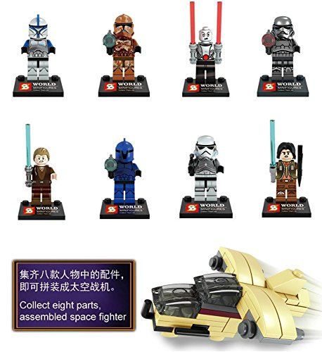 New Adventure Star Wars Shadow Knight Clone Soldiers Stormtrooper Minifigures Building Brick Blocks Toy for Children, 8Pcs/Set ABS Plastic Multi-color