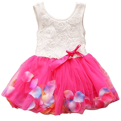 Metee Dresses Kids Girls Princess Rose Garden Flower Petal Lace Ruffled Tulle Skirts Dresses(S(Advice 1-2 Years), Rose)