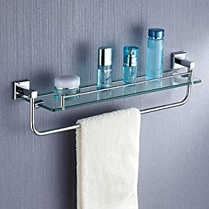 chrome finish single storage glass shelf towel