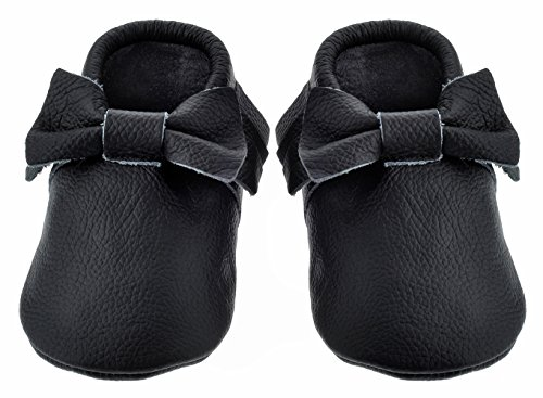 Sayoyo Black Bow Tassels Soft Sole Leather Infant Toddler Prewalker Shoes (0-6 months, Black) - 1