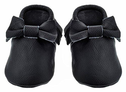 Sayoyo Black Bow Tassels Soft Sole Leather Infant Toddler Prewalker Shoes (0-6 months, Black) - 1