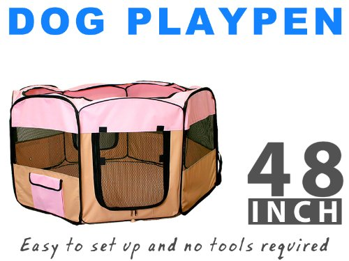 "48"" Pet Dog Xl Playpen Kennel Exercise Pen Crate - Pink"