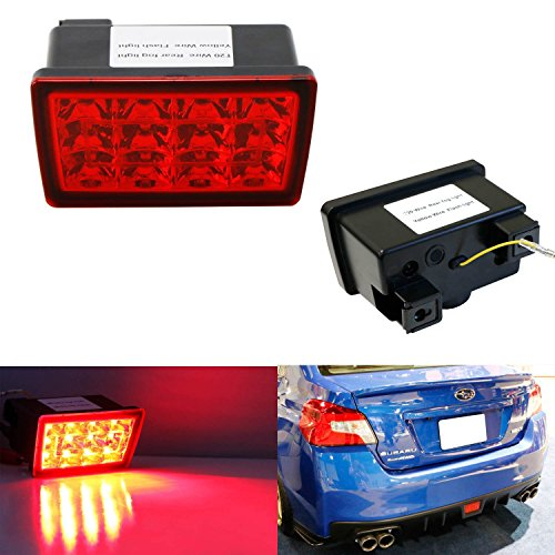 iJDMTOY Red Lens F1 Style LED Rear Fog Light Kit Fit 2011-up Subaru WRX STi, Impreza or VX Crosstrek (with Wire Harness & Mounting Bracket) (Led Fog Lights Subaru compare prices)