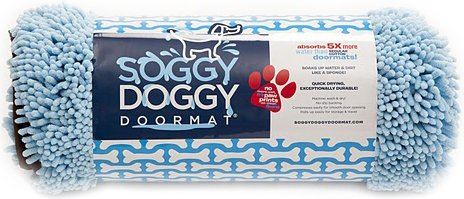 Soggy Doggy 26-Inch by 36-Inch Microfiber Chenille Doormat for Wet Dog Paws, Blue, Large