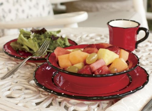 Tuscany Hand Painted Red Ruffle, 16Pc Dinneware Set, 85216 By Ack front-370133