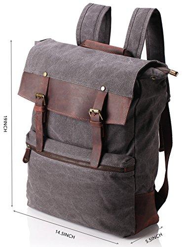 ZEKAR Vintage Waxed Canvas Leather Backpack, Multipurpose Daypacks 1