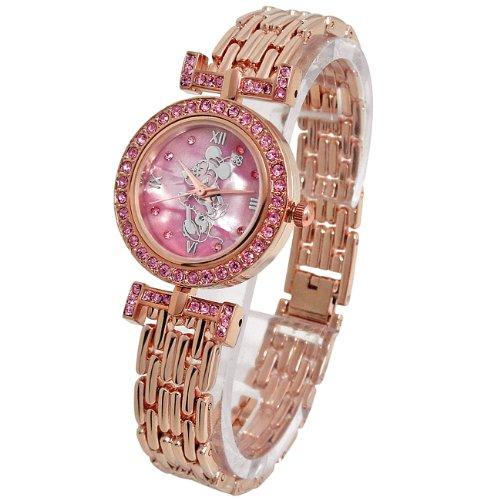 Disney ディズニー オーラ ミニー 腕時計 ピンクゴールドベルト×ピンク文字盤 スワロフスキー 銀【並行輸入品】