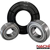 """Nachi High Quality Front Load Maytag Washer Tub Bearing and Seal Kit Fits Tub W10253864 (5 year replacement warranty and full HD """"How To"""" video included)"""