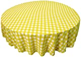 LA Linen Poly Checkered Round Tablecloth, 90-Inch, Light yellow/White