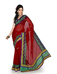 Designersareez Women Chiffon Embroidered Deep Red Saree With Unstitched Blouse(1194)