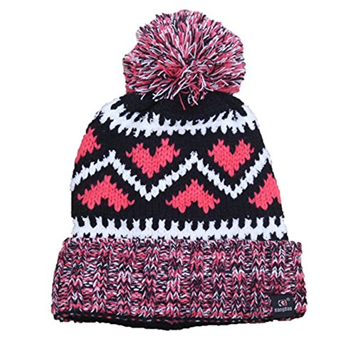 Final Bliss Womens New Jacquard Knit Wool Ball Korean Outdoor hats(Black) (How To Wear A Santa Hat)