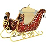 3.5 Inch Red Silver Bells Sleigh Collectible Xmas Votive Candle Holder