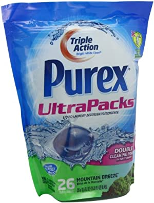 Purex Ultra Packs Liquid Laundry Detergent, Mountain Breeze, 26 Count