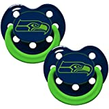 NFL Football Team Logo Baby Infant Glow In The Dark Pacifier 2-Pack (Seattle Seahawks)