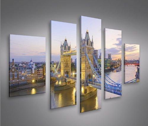 Tower Bridge London V3 MF 5 Quadri moderni su tela - pronti da appendere - montata su pannelli in legno - Fotografia formato XXL - Stampa su tela - Quadro x poltrone salotto cucina bagno mobili ufficio casa
