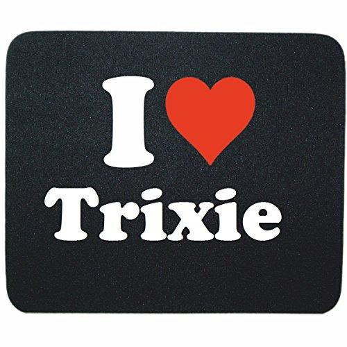 """ESCLUSIVO: Tappetino Mouse/ Mousepad """"I Love Trixie"""" in Nero, una grande idea regalo per il vostro partner, colleghi e molti altri! - regalo di Pasqua, Pasqua, mouse, poggiapolsi, antiscivolo, gamer gioco, Pad, Windows, Mac, iOS, Linux, computer, laptop, notebook, PC, ufficio , tablet, Made in GERMANY."""