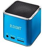 R.O.GNT 0603-40 tragbarer Lautsprecher (FM-Radio, 80dB, 450mAh, Micro SD-Karten, USB, 3,5 mm Klinkenanschluss,3 Watt) für iPod blau