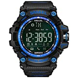 SMAEL Digital LED Display ,Bluetooth Smart with Android and IOS,Waterproof and Electric Alarm,with Running Timer, Multifunctional Sports Watch(Blue) (Color: Blue, Tamaño: 17mm)