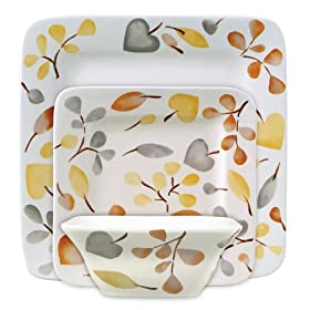 Gibson Frontino 12-Piece Handpainted Square Dinnerware Set Autumn Grace