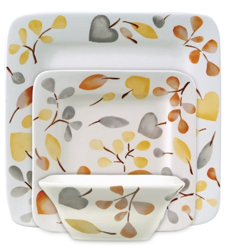 Gibson Frontino 12-Piece Handpainted Square Dinnerware Set, Autumn Grace