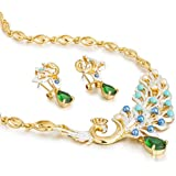 """Stylish Jewelry Set, """"The Ajmer"""" Peacock Princess, Mogul Inspired 14K gold Setting with Solid Pear Drop Czech Crystals. Luxury Fashion Necklace & Earrings Set. Contemporary Modern Style. Great Value; perfect Gift Idea for Christmas or Anniversary or Bridal Wedding. Gift Boxed Ready. In Emerald or Red Ruby"""