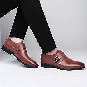 Men Cap Toe Dress Shoes Slip On Faux Leather Monk Strap