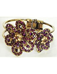 Purple Stone Studded Oxidised Metal Hinged Bracelet - Metal