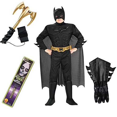 Batman TDKR Kids Costume with Gauntlets, Makeup Stick, Grappling Hook (S)