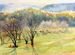 Eastward, Over the Hills, Giclee Print of Watercolor Landscape of Field with Cows and Distant Misty Mountains, 15 X 19 Inches