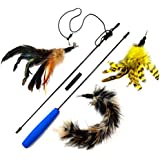 2 Feathers and 1 Soft Teaser/Exerciser Combo For Your Cat and Kitten - Cat Toy Interactive Cat Wand