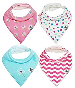 Baby Bandana Drool Bibs Girls Gift 4-Pack. Absorbent Organic Cotton. Adjustable Snaps. Cute Modern Patterns