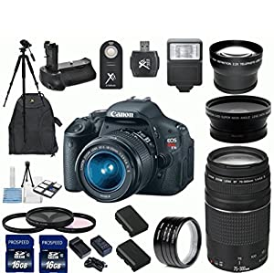 Canon EOS Rebel T3i 18 MP CMOS Digital SLR Camera with EF-S 18-55mm f/3.5-5.6 IS II Zoom Lens & EF 75-300mm f/4-5.6 III Telephoto Zoom Lens + 15pc Bundle 32GB Deluxe Accessory Kit