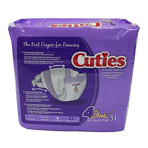 Cuties Baby Diapers, Size 4, 31 Count (Pack of 4)