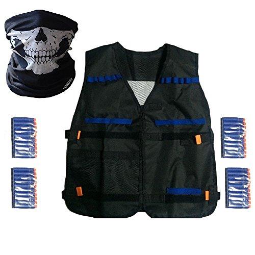 Elite Tactical Vest Kit para Nerf N-Strike Elite de serie, 40-Recambios de dardos, sin problemas cráneo de máscara facial KIT