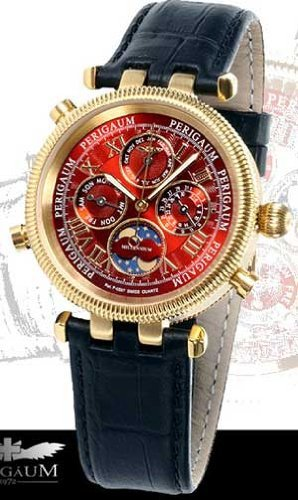 Perigaum Ladies Millennium Gold Tone Watch - Red - 0606-GGR