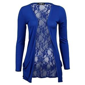 My1stWish Womens 78S Floral Lace Back Ladies Long Boyfriend Summer Cardigan Size 4/6 Royal Blue