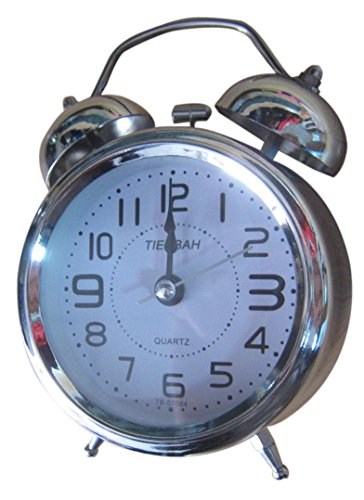 mytlp quartz analog twin bell alarm clock with nightlight and loud alarm silver. Black Bedroom Furniture Sets. Home Design Ideas