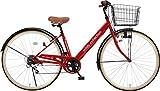 【完全組立・完成品】自転車 27インチ シティサイクル おしゃれ ママチャリ シマノ6段変速 低床フレーム ダイナモライト voldy.collection VO-CTV276LED-B (レッド)