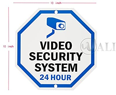 """WALI Aluminum Sign for Home Business Security, Legend """"Video Security System 24 Hour"""",10"""" Tall Octagon, UV Protected & Waterproof, Black/Blue on White"""