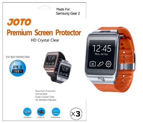 JOTO - Samsung Gear 2 Screen Protector Film Ultra Crystal Clear (Invisible) with Lifetime Replacement Warranty, only for Gear 2 smart watch 2014 SM-R380 (2nd generation Gear) (3 Pack)