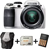 Fujifilm FinePix S4200 White + Case +8GB Memory +4 AA Batteries and Charger (14MP, 24x Optical Zoom) 3 inch LCD Screen