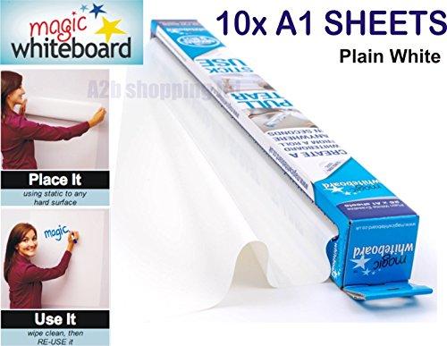 Magic Whiteboard Blatt A1weiß Dry, radierbar Papier Rolle Selbst Vinyl Stick 10x A1 Sheets