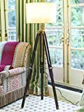 Timber Tripod Floor Lamp Stand Teak Wood Solid Lamp Stand with Shade and Bulb